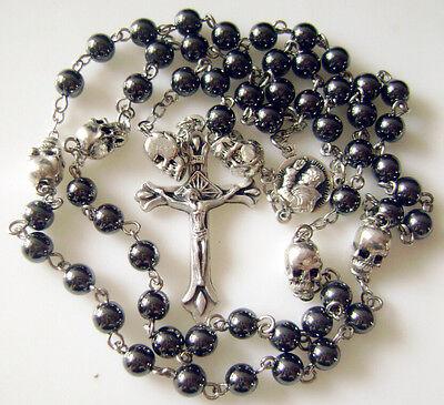 (black hematite Beads & silver skull Rosary Prayer Necklace box crucifix catholic)