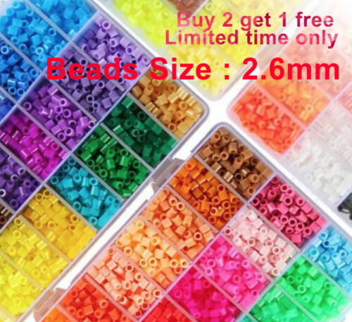 2.6mm Mini 500/ 1000/2000 pcs HAMA/PERLER BEADS for Kids Gift GREAT 60 COLORS +