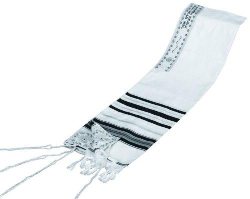 TRADITIONAL TALLIT WITH BLACK & SILVER STRIPES - Jewish Prayer Shawl - SIZE 24