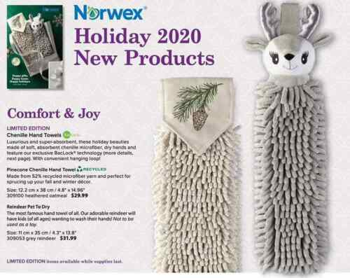 NEW Norwex PINECONE or REINDEER Chenille Hand Towels FREE SHIPPING!