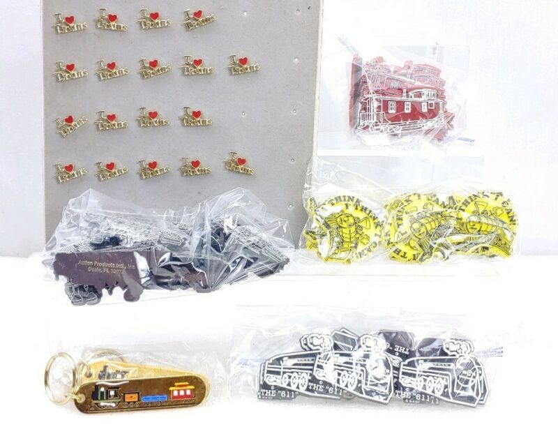 Lot Of Train Pins Key Chains Magnets