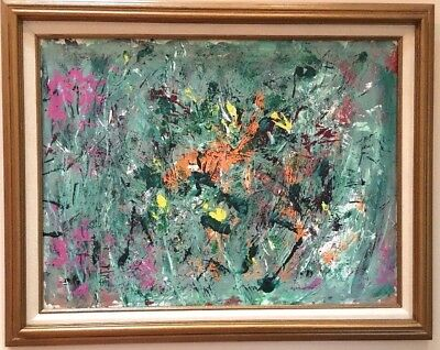 Vintage Mid Century Modern Abstract Expressionist Oil Painting for sale  Shipping to Canada