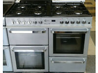 a555 silver flavel 100cm gas hob double electric ovens dual fuel range cooker comes with warranty