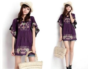Mexican Ethnic Floral EMBROIDERED Hippie Women Blouse DRESS Bat sleeve Tops US25
