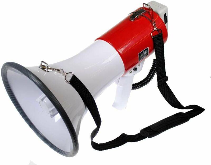 S4O Professional Sport Events Bullhorn 50 Watt Rally Megaphone with Siren