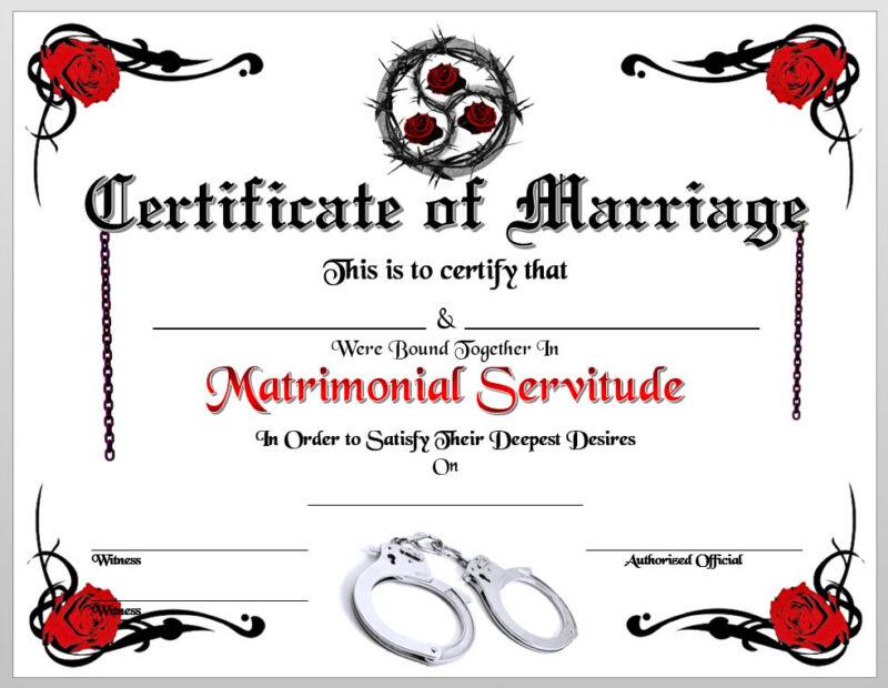 BDSM Certificate of Marriage Print Wedding Collar Love 50 Shades of Grey Cuffs