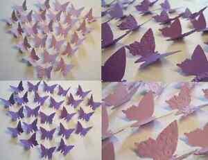24-Set 3D Schmetterlinge WANDDEKO WANDTATTOO flieder lila violett AUSWAHL