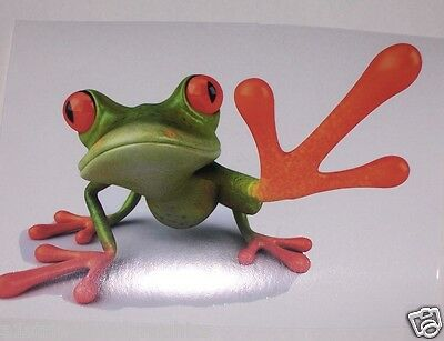 Green Grabing Reach TREE FROG Window Decal Decals Trailer Sticker Stickers Wall
