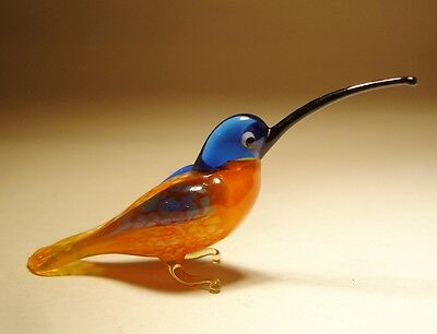 Blown Glass Figurine Art Bird Small Orange and Blue HUMMINGBIRD