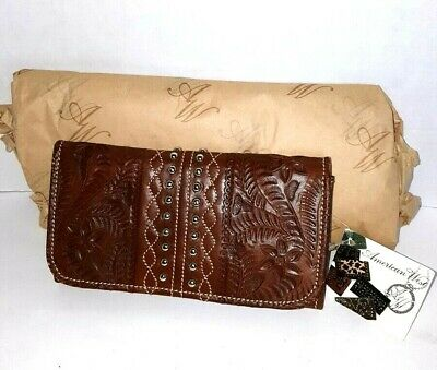 American West Tri-fold Twisted Trail Tooled Floral Brown Leather Wallet 8485282