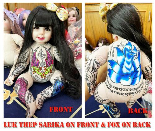 Thai Amulet Luk Thep Paint Sarika & Fox Charming Full Yant Write Magic By Aj Kom