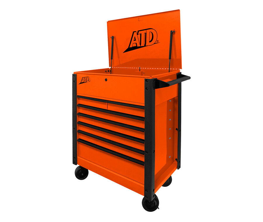 ATD Tools 70402A - 7-Drawer Flip-Top Orange Tool Cart - Brand New!