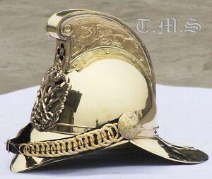 Collectible Brass Victorian Fireman Fire Fighter Chief Helmet - Wearable Helmet