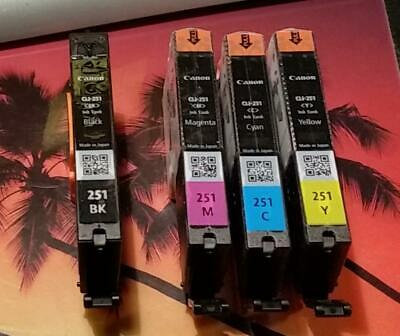 LOT OF 4 GENUINE CANON CLI 251 BK M C Y INK CARTRIDGES PIXMA MX722 MX922 FASTSHP