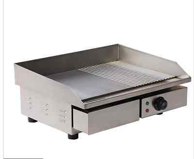3kw 55cm Electric Griddle Grill Hot Plate Stainless Steel Commercial Bbq Grill N