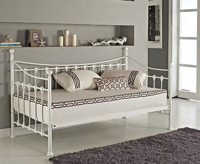 Versailles French Day Bed And Trundle Black White Metal