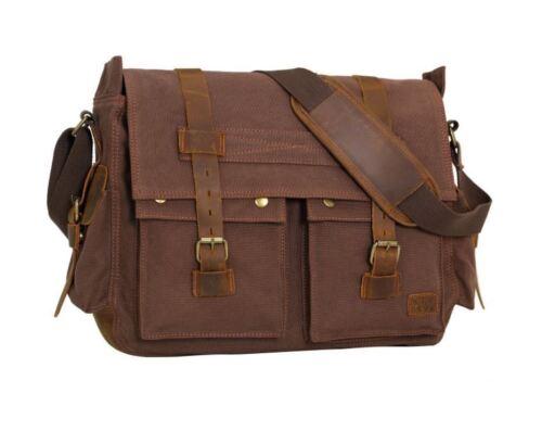 Wowbox 17 Inch Men's Messenger Bag Vintage Canvas Leather