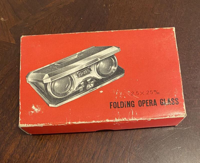 Vintage HEIT Folding Opera Glass Binoculars JAPAN - 2.5 X 25m/m With Box
