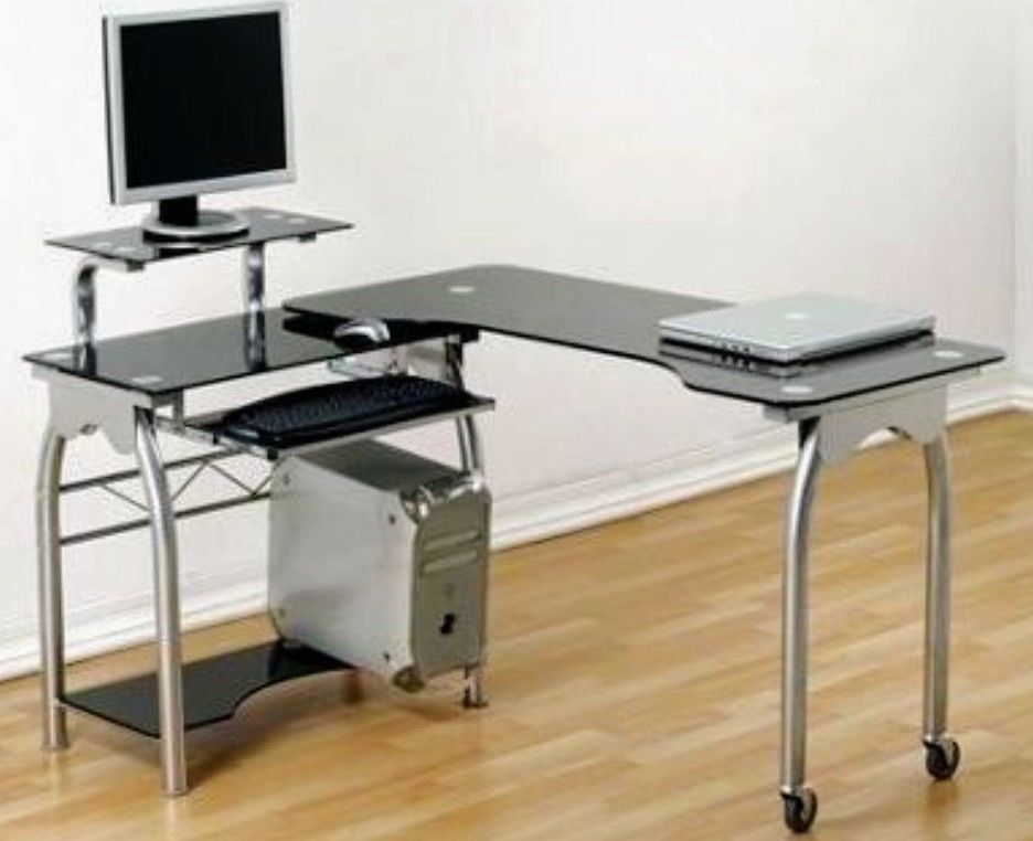 Black Glass Corner Pc Table Home Study Office Desk