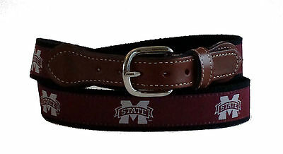 Bulldogs Mens Leather - Mississippi State University Bulldogs Mens Leather Canvas Embroidered Belt