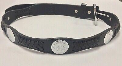 Original Leather Concho&Ribbon Western Cowboy Rodeo Black Belt -