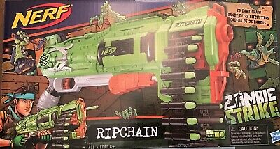 NERF Strike Zombie Ripchain Combat Blaster Dart Chain 25 Elite Darts Gun Toy Kid
