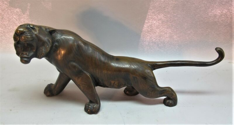 "Fine Antique 20"" JAPANESE BRONZE Sculpture of Crouching Tiger  c. 1930s  statue"