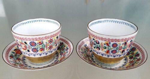 Pair Wien Austria Demitasse Enamel over Copper Tea Cups + Saucer Signed Vintage