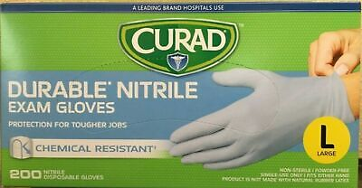 CURAD Durable Nitrile Exam 200 Gloves Size L FASTEST SHIPPING!!! FACTORY SEALED!
