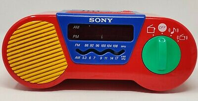 My First Sony Childrens AM FM Alarm Clock Radio Model ICF C6000 Vintage Tested