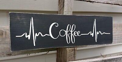 Rustic wood sign COFFEE bar heartbeat wooden farmhouse kitchen tea small 12