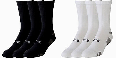 $32 NEW Kids Youth LARGE 6-Pack Under Armour HeatGear Crew Socks BLACK + WHITE