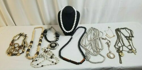 10 Piece NECKLACES Costume Jewelry Lot LARGE BEADS, Faux Pearls, Key Lot # 2