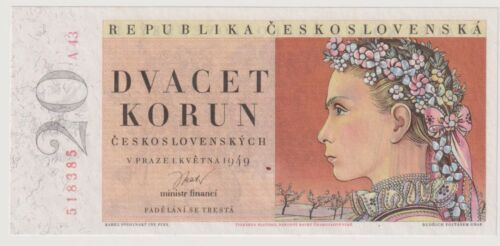 Czechoslovakia 20 Korun dated 1949 Pick70a Uncirculated UNC