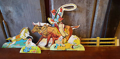 Cowboy-cut-outs (5 Pieces Vintage Paper Stand Up Cowboy Cut Outs, Horses, Cows, Fence, Roping)
