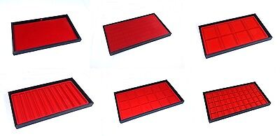 6 Assorted Black Wooden Jewelry Display Storage Parts Trays With Red Liners