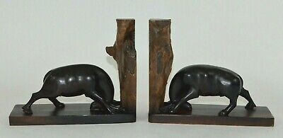Vintage Pushing Fighting Ox Bull Water Buffalo Carved & Natural Wood Bookends