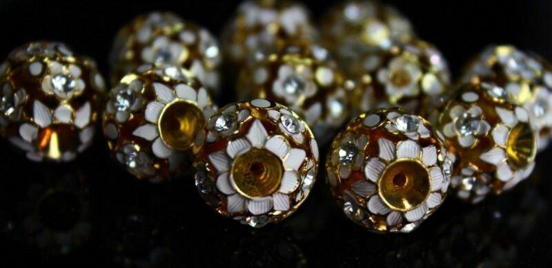 10 White & Gold Lamp-work Flower Filigree Cloisonne Beads 15 mm Vintage