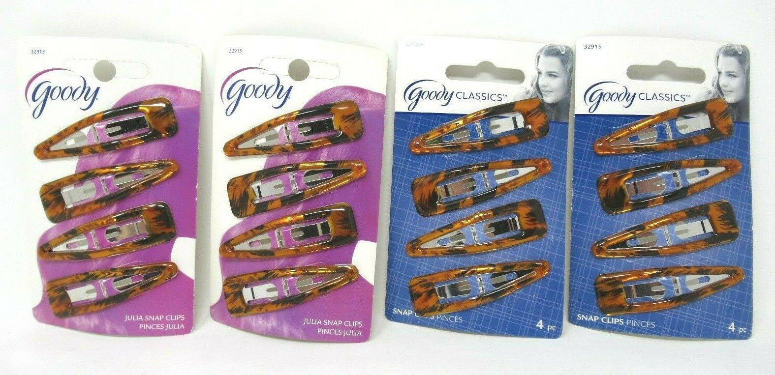 Goody Snap Hair Clips, Tortoise, 4-count