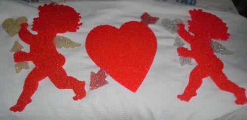 3  Vintage Melted Plastic Popcorn decorations-Valentine