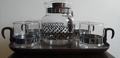 Vintage Retro Coffee Tea Set 4 Cups Jug & Tray