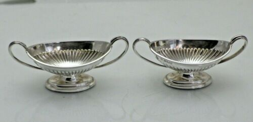 Antique Sterling Solid Silver Pair Open Half Fluted Boat Shaped Salts 1911/9/SOY