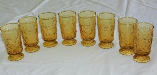 RETRO BAR 8 Vintage Pebble Textured Footed Small Glasses Amber 1960