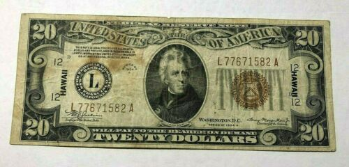 1934 A $20 HAWAII WWII EMERGENCY ISSUE OVERPRINT NOTE
