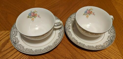 Pair of Vintage Paden City Pottery Pcp9 Cup & Saucer Sets