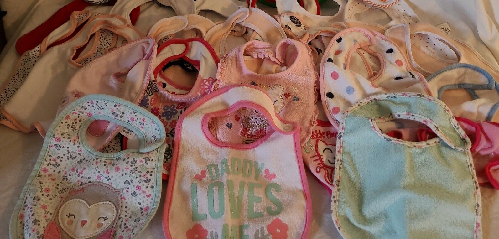 Lot Of Baby Girl Bibs In Multiple Styles W/ Over 30 Bibs In Excellent Condition - $16.80