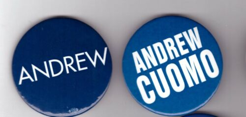 """2010 NY GOVERNOR ANDREW CUOMO PAIR OF 1 3/4"""" CELLULOID PINS"""