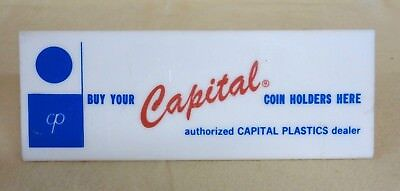 Vintage Capital Coin Holders Sold Here Plastic Store Display Desk Sign