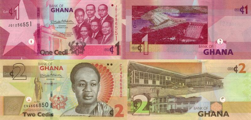 Ghana 2 Note Set: 1 & 2 Cedi (2017/2019) - p37-New/p37Ae UNC