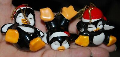 Vnt Set of 3 Playful PENGUIN Ceramic Christmas Tree Ornaments Lot